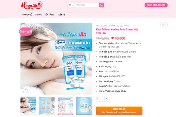 Kem trị mụn Yanhee của Thái lan đang được HazuShop khuyến mãi còn 148,000 vnđ, Trước mình mua có được khuyến mãi thế này đâu