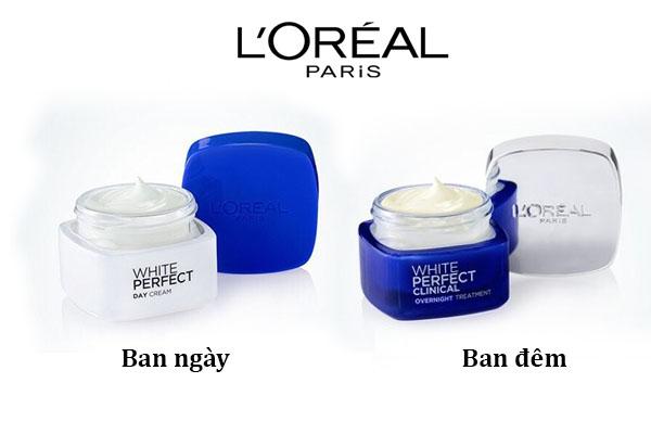 Bộ kem dưỡng trắng da mặt ngày và đêm White Perfect Clinical của L'Oreal Paris