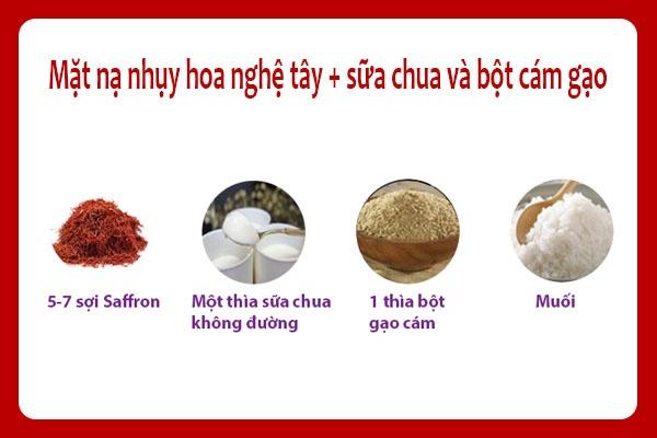 Công thức làm mặt nạ saffron cùng với sữa chua và bột cám gạo