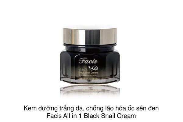 Facis All In One Black Snail Cream – kem dưỡng da với công thức chiết xuất dịch tiết ốc sên đen kết hợp các thành phần thiên nhiên, giúp cấp ẩm sâu