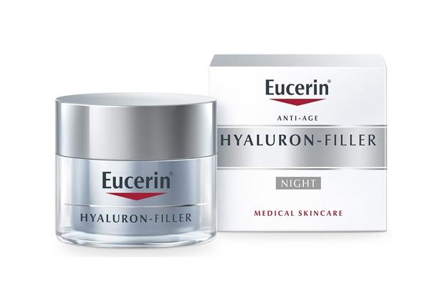 Kem chống lão hóa da ban đêm Eucerin Hyaluron Filler Night Fluid với công thức kết hợp Hyaluronic Acid và Glycine Saponin giúp làm mờ những nếp nhăn hiệu quả, cho làn da trẻ trung hơn